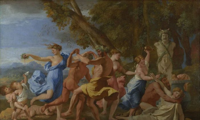 Some people pursue hedonism as a path to happiness not realizing that it is a fleeting, and endless pursuit. Nicolas Poussin/Wikimedia Commons