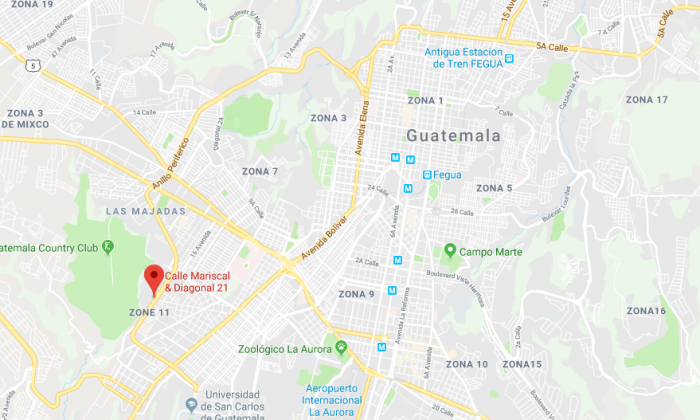 The area where Rosa Otilia Ramirez was assassinated in Guatemala City, Guatemala, on Jan. 19, 2017. (Screenshot via Google Maps)