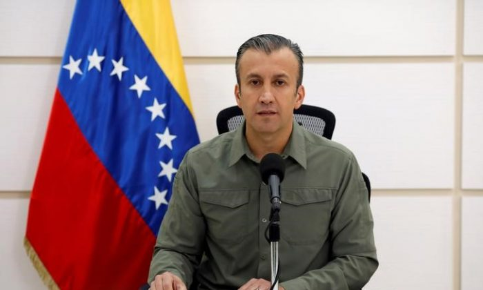Venezuela's Vice President Tareck El Aissami talks to the media during a news conference in Caracas, Venezuela Nov. 17, 2017. (Reuters/Marco Bello)
