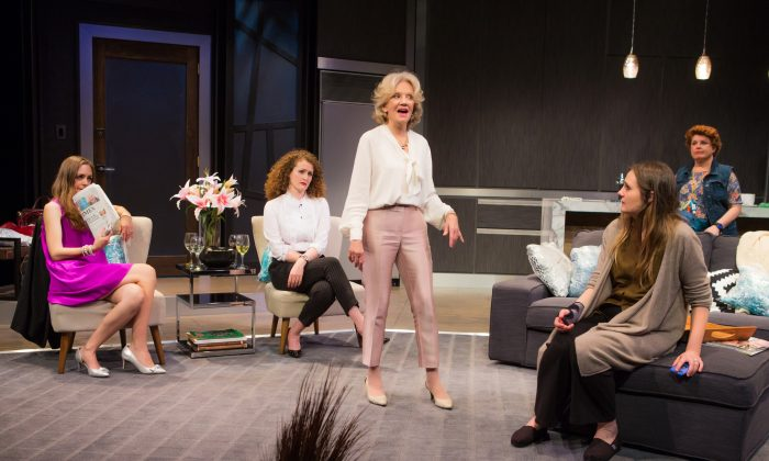 """(L–R) Allison Jean White, Brenda Meaney, Hayley Mills, Gina Costigan, and Klea Blackhurst, in """"Party Face"""" at City Center Stage II. (Jeremy Daniel)"""