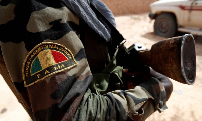A Malian Armed Forces patch worn by a soldier is pictured during the regional anti-insurgent Operation Barkhane in Tin Hama, Mali, Oct. 19, 2017. (Reuters/Benoit Tessier/File Photo)
