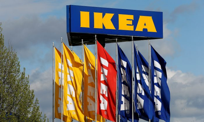 Flags and the company's logo are seen outside of an IKEA Group store in Spreitenbach, Switzerland on April 27, 2016. (REUTERS/Arnd Wiegmann/File Photo)