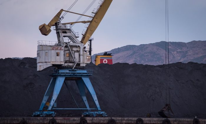 Amound of North Korean coal adjacent to the RasonConTrans coal port at Rajin harbor, North Korea, on November 21, 2017. (Ed Jones/AFP/Getty Images)