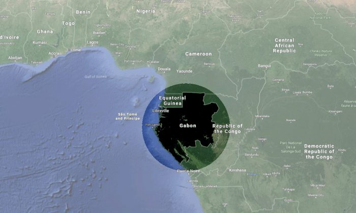 Gabon, along the coast of central Africa, where cave-dwelling, orange crocodiles were discovered. (Screenshot via Google Maps)