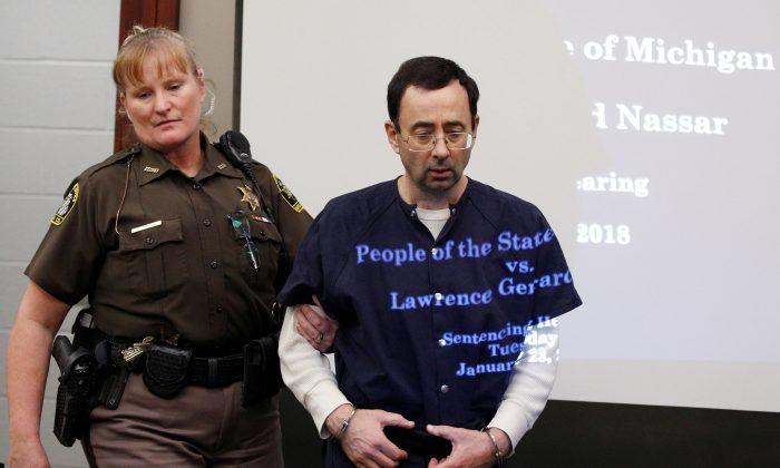Larry Nassar during his sentencing hearing in Lansing, Michigan on Jan. 23, 2018.  (Reuters/Brendan McDermid/File Photo)