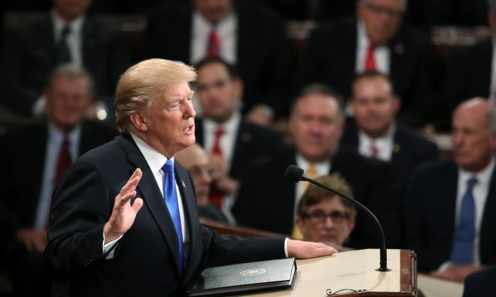 U.S. President Donald Trump delivers the State of the Union address in the chamber of the U.S. House of Representatives on Jan. 30, 2018 Washington, D.C. (Mark Wilson/Getty Images)