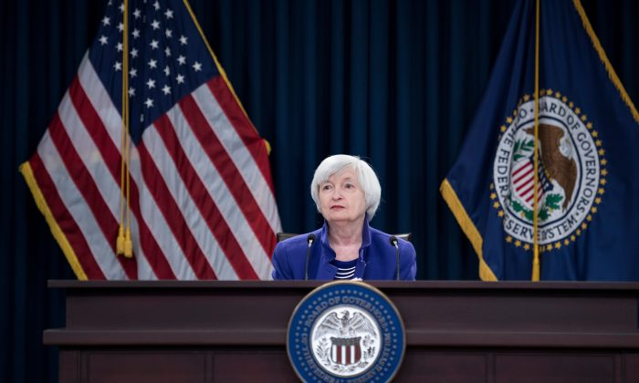U.S. Federal Reserve Board chair Janet Yellen in her final interest rate decision press conference in Washington, D.C. on Dec. 13, 2017. Under her tenure, unemployment has fallen to 4.1 percent and the Fed has earnestly begun the path to more standard monetary policy. (Brendan Smialkowski/AFP/Getty Images)