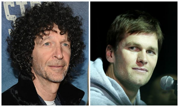 Howard Stern (L) and Tom Brady. (Dimitrios Kambouris/Getty Images; Elsa/Getty Images)