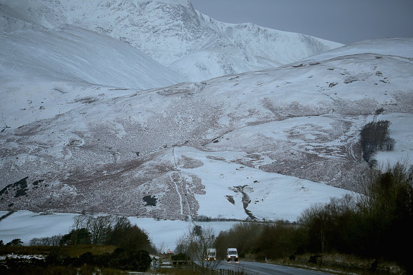 Snow and ice covers the hill tops in the Lake District on Jan. 13, 2017 in Keswick, Cumbria (Christopher Furlong/Getty Images)