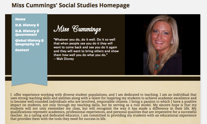 Patricia Cumming's social studies class webpage. (Screenshot via misscummingspage.weebly.com)