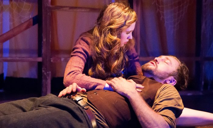 """Julie (Hannah Sloat) and Jericho (Vasile Flutur) in the new play """"Jericho."""" (Dustin Moore)"""