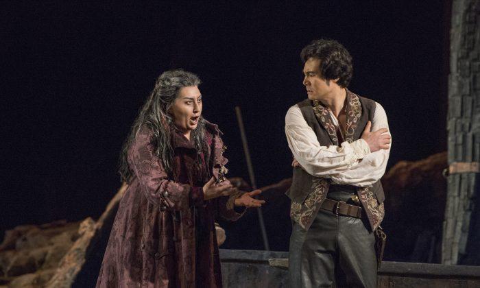 "Anita Rachvelishvili as Azucena and Yonghoon Lee as Manrico in Verdi's ""Il Trovatore."" (Karen Almond/Metropolitan Opera)"