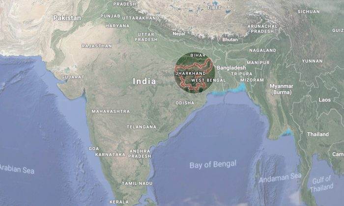 The Indian state of Jharkhand, where a principal burned 13 students with a candle on Jan. 31, 2018. (Screenshot via Google Maps)