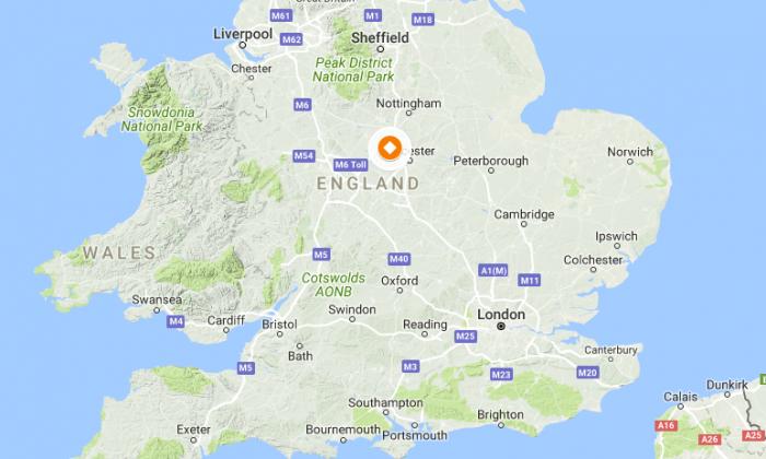 Location of Leicester in the U.K. (Screenshot via GoogleMaps)