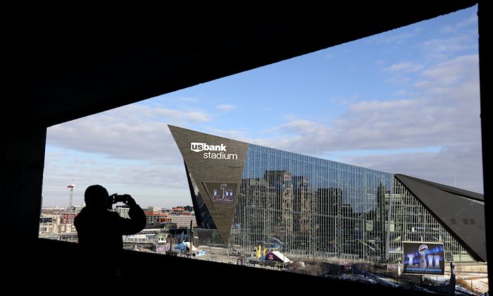The US Bank Stadium in Minneapolis, Minn., where Super Bowl LII will be played between the New England Patriots and the Philadelphia Eagles on Feb. 4, 2018. (Rob Carr/Getty Images)