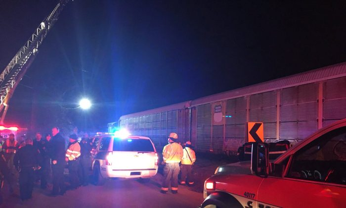 Emergency crews attend to the site of a train collision near Pine Ridge, Lexington County, South Carolina, U.S., February 4, 2018 in this image obtained from social media. (County of Lexington via Reuters)