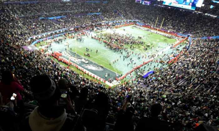 The Philadelphia Eagles celebrate after defeating the New England Patriots 41-33 in Super Bowl LII at U.S. Bank Stadium on Feb. 4, 2018, in Minneapolis. (Hannah Foslien/Getty Images)