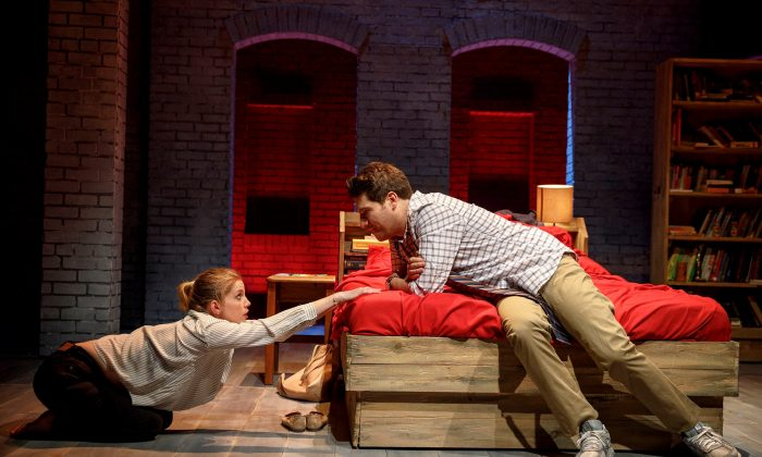"Lydia Lensky (Anna Chlumsky) and Jeff Torm (Adam Pally) are an unlikely couple. He's the town's newly elected mayor, and she has a ""great"" idea about how to save their dying town, in ""Cardinal,"" a new play by Greg Pierce. (Joan Marcus)"