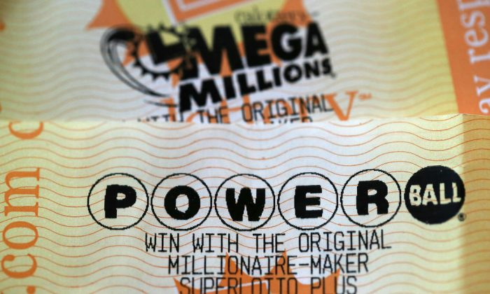 Powerball and Mega Millions lottery tickets are displayed in San Anselmo, California, on Jan. 3, 2018. (Justin Sullivan/Getty Images)