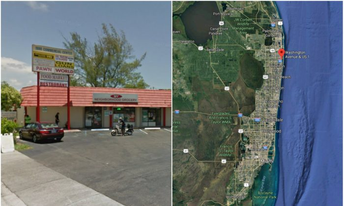 L: A parking lot by South Dixie Highway and Washington Avenue in Lake Worth, Fla., where a man allegedly shot a woman on Feb. 7, 2018. (Screenshot via Google Street View); R: The approximate location of the parking lot. (Screenshot via Google Maps)