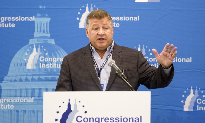 Rep. Bill Shuster (R-Penn.) talks to media following a session on infrastructure, during the 2018 Annual House and Senate Republican Conference, in White Sulphur Springs, W.Va., on Feb. 1, 2018. (Charlotte Cuthbertson/The Epoch Times)