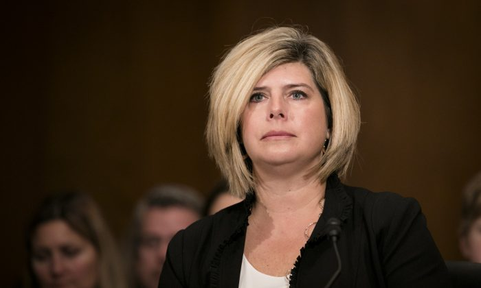 Becky Savage testifies about the loss of her two sons at a Senate hearing on opioids, in Washington, on Feb. 8, 2018. (Samira Bouaou/The Epoch Times)
