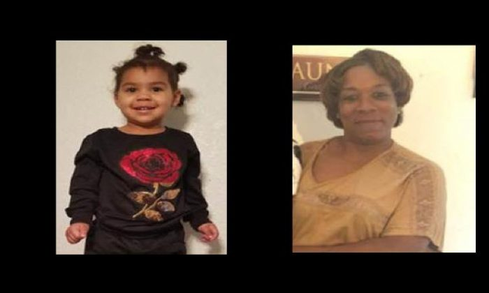 Photo shows 2-year-old Amia Blanton; Right: 47-year-old Levita Gant (Mesquite Police Department)
