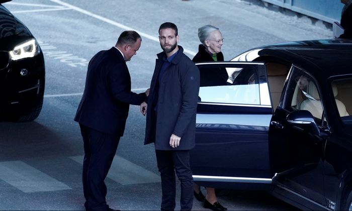 Queen Margrethe of Denmark, leaves Rigshospitalet Hospital after visiting her husband Prince Consort Henrik, whose health has been reported to be in critical condition, in Copenhagen, Denmark February 9, 2018. (Scanpix Denmark/Martin Sylvest via REUTERS)
