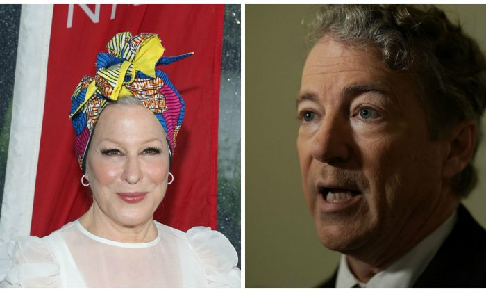 Bette Middler and Rand Paul. (Rob Kim/Getty Images for New York Restoration Project; Alex Wong/Getty Images)