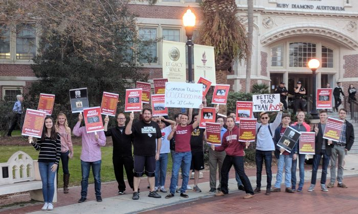 Students at Florida State University protest an appearance on campus of the communist political activist and academic Angela Davis, in Tallahassee, Fla., on Jan. 16, 2018. (FSU College Republicans)