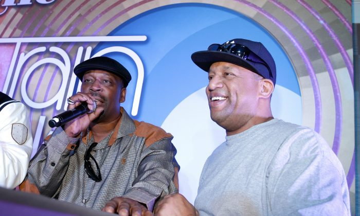 Grandmaster Caz (L) and Lovebug Starski attend the 2014 Soul Train Music Awards Centric Soul Train Weekend Kick-Off Reception at The Orleans Hotel Dauphine Ballroom on November 6, 2014 in Las Vegas, Nevada. (Photo by Isaac Brekken/Getty Images for BET)