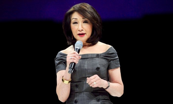 Connie Chung speaks onstage at the 2014 AOL NewFronts at Duggal Greenhouse on April 29, 2014 in New York, New York.  (Photo by Brad Barket/Getty Images for AOL)