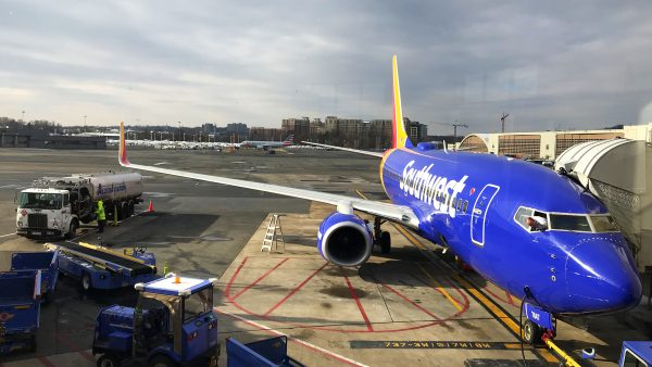 A Southwest Airlines plane is serviced before departure, December 10, 2017. (Daniel Slim/AFP/Getty Images)