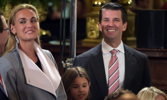 Donald Trump, Jr., (R) his wife Vanessa (L) attend the White House senior staff swearing in at the White House on Jan. 22, 2017. (Mandel Ngan/AFP/Getty Images)