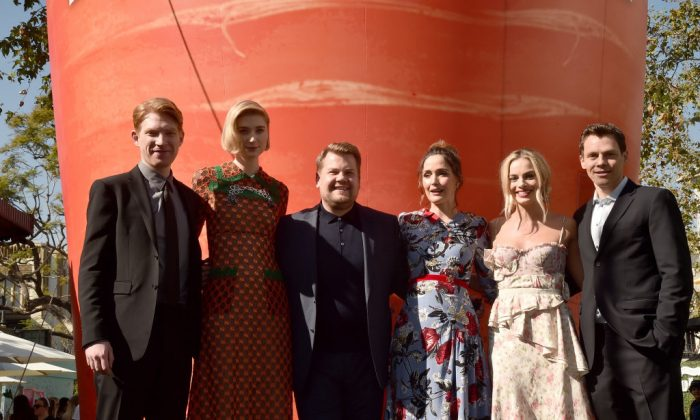 "Actors Domhnall Gleeson, Elizabeth Debicki, James Corden, Rose Byrne, Margot Robbie and director/writer/producer Will Gluck attend the premiere of Columbia Pictures' ""Peter Rabbit"" at The Grove in Los Angeles on Feb. 3, 2018.  (Photo by Alberto E. Rodriguez/Getty Images)"