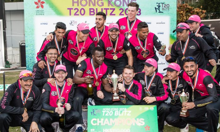 Hung Hom JD Jaguars celebrate winning the 2018 T20 Blitz after beating Galaxy Gladiators Lantau by 6 runs in the Final at the Mission Road Sports Ground on Sunday Feb 11. (Dan Marchant)