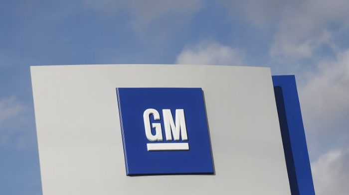 The GM logo is seen at the General Motors Warren Transmission Operations Plant in Warren, Michigan on Oct. 26, 2015. (Reuters/Rebecca Cook/File Photo)
