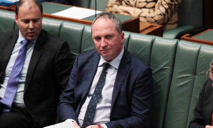 Deputy Prime Minister Barnaby Joyce during House of Representatives question time at Parliament House on Oct. 25, 2017, in Canberra, Australia. (Stefan Postles/Getty Images)