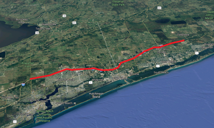 The approximate route Joseph Cooper involuntarily sped in his BMW down I-95 in Florida on Feb. 12, 2018. (Screenshot via Google Maps)