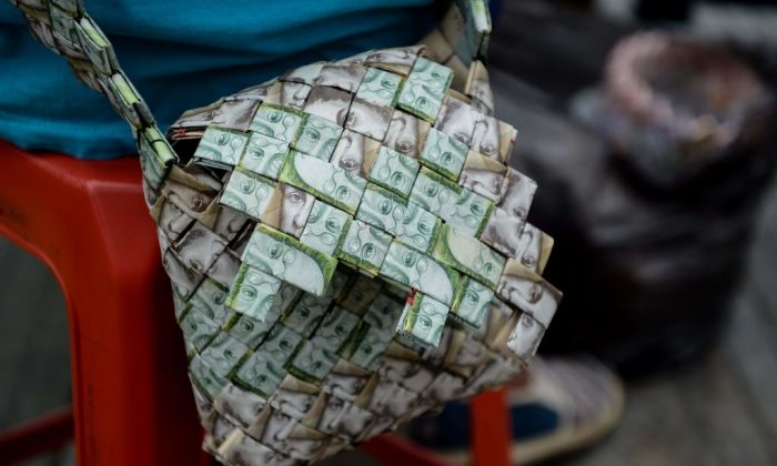 A purse made by Venezuelan Wilmer Rojas, out of bolivar bank notes in Caracas on Jan. 30, 2018. (Federico Parra/AFP/Getty Images)