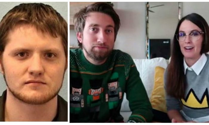 Christopher Eric Giles (L), who broke into the home of Youtube couple Gavin Free and Megan Turney in late January before he was shot and killed by police. (Austin Police Department; YouTube)