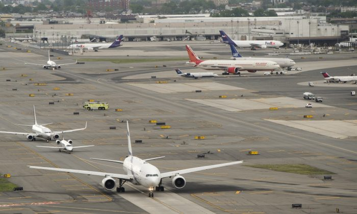 Airplanes are seen at Newark Liberty International Airport in Newark, N.J., on May 15, 2016. (Saul Loeb/AFP/Getty Images)