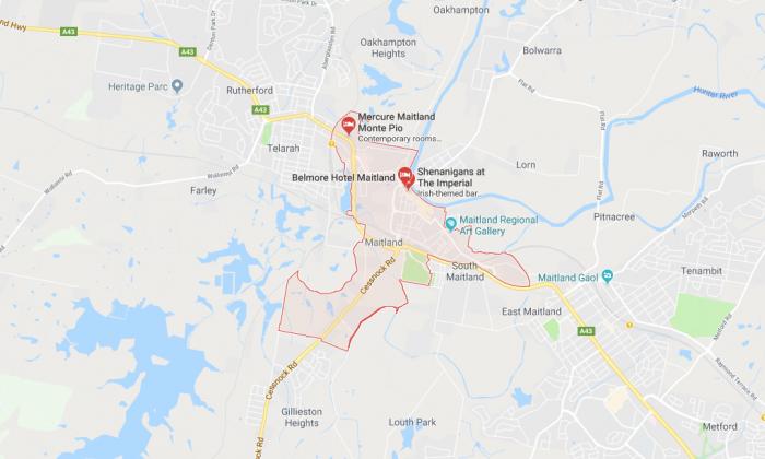 NSW Police raided six homes in Maitland, NSW, on Feb. 14, 2018. (Screenshot via Google Maps)