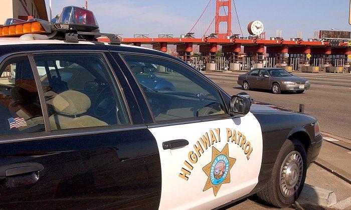 A California Highway Patrol car stands guard at the Golden Gate Bridge toll plaza November 2, 2001 in San Francisco, CA. (Justin Sullivan/Getty Images)