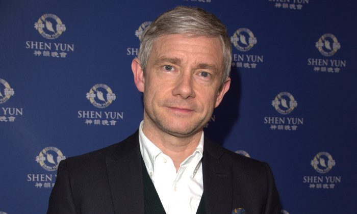 Emmy and BAFTA winning actor Martin Freeman watched Shen Yun at the Dominion Theatre, London, on Friday, Feb. 16, 2018. (Si Gross/Epoch Times)