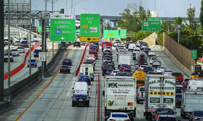 Traffic along I-95 in Miami on Feb. 12. President Donald Trump announced his infrastructure proposal in which he plans on investing at least $1.5 trillion on new projects. (JOE RAEDLE/GETTY IMAGES)
