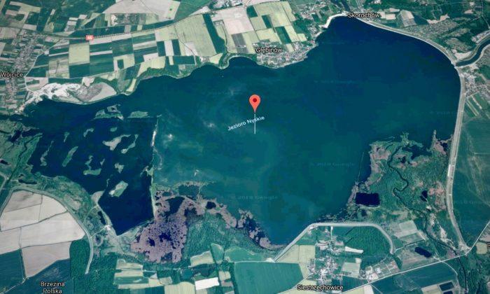 Nyskie Lake, Poland. The location where a cow headed to the slaughterhouse broke away and evaded recapture. (Screenshot via Google Maps)