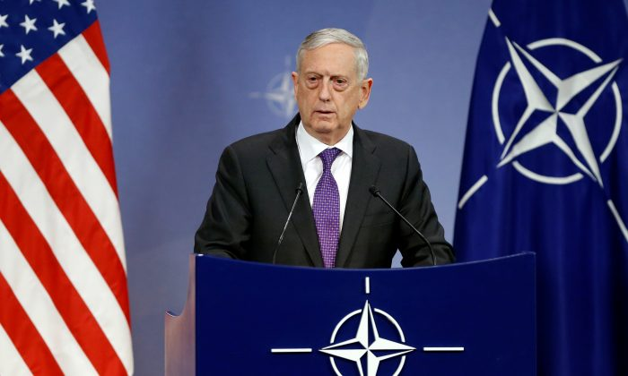 U.S. Secretary of Defence James Mattis addresses a news conference during a NATO defence ministers meeting at the Alliance headquarters in Brussels, Belgium, Feb. 15, 2018. (Reuters/Francois Lenoir)