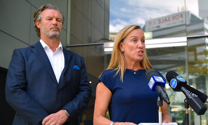 President of Carnival Cruise Line Australia Sture Myrmell and Vice President and General Manager of Carnival Cruise Line Jennifer Vandekreeke speak to the media in Sydney, Australia, Feb. 16, 2018. (AAP/Joel Carrett/via Reuters)