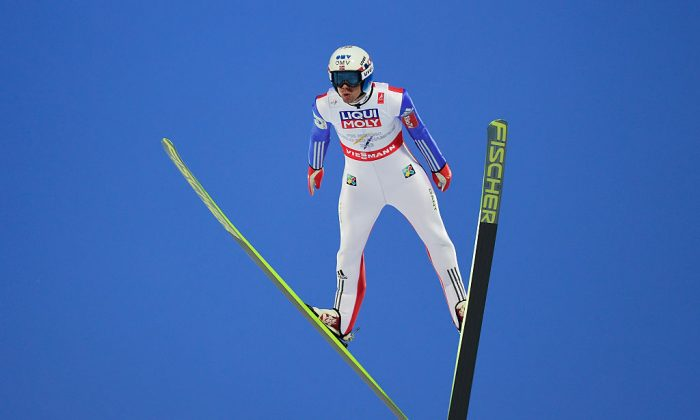 Anders Bardal of Norway competes during the Men's HS100 Normal Hill Ski Jumping during the FIS Nordic World Ski Championships at the Lugnet venue on February 21, 2015 in Falun, Sweden. (Mike Hewitt/Getty Images)